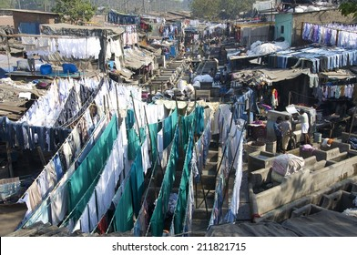 MUMBAI, INDIA - FEB 26, 2012.The Mahalaxmi Dhobi Ghat, Mumbai, said to be the world's largest outdoor laundry. There are up to 5,000 Dhobis who live and work in the area.