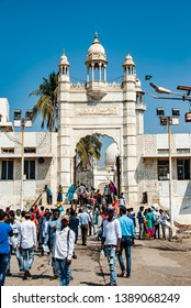 Mumbai, India - February 14,2019:Entrance of the Haji Ali Dargah, a famous tomb and a mosque