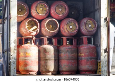 Mumbai, India - February 17, 2014 -  LPG gas cylinders in the truck ready to be delivered to customers