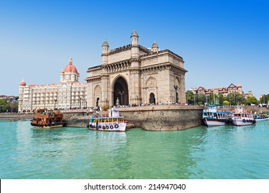MUMBAI, INDIA - FEBRUARY 21: The Taj Mahal Palace Hotel and Gateway of India on Febuary 21, 2014 in Mumbai, India.