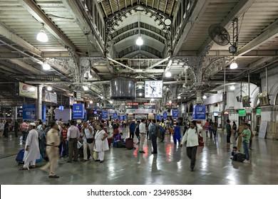 MUMBAI, INDIA - FEBRUARY 21: Unidentified people inside Chhatrapati Shivaji Terminus on Febuary 21, 2014 in Mumbai, India