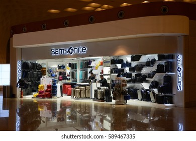 MUMBAI, INDIA - FEBRUARY 26, 2017: A retail store of Samsonite which is an American luggage manufacturer and retailer, with products ranging from large suitcases to small bags and briefcases.