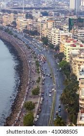 Mumbai, India - February 28, 2016: aerial view of Marine Drive in Mumbai, India.