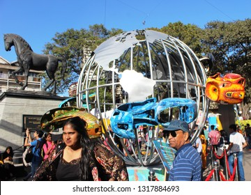 Mumbai, India - February 8, 2019: An artistic representation of planet Earth - an art installation installed near the statue titled 'Spirit of Kala Ghoda', at the Kala Ghoda Arts Fest