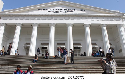 Mumbai, India - February 8, 2019: The portico of the Asiatic Society of Mumbai - a heritage structure, heavily influenced by Greek and Roman architecture