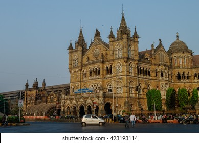 Mumbai, India - January 1, 2012: Chhatrapati Shivaji Terminus (CST) is a UNESCO World Heritage Site and an historic railway station
