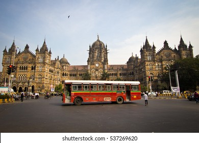 MUMBAI, INDIA - January 10, 2014: Historic railway station Chhatrapati Shivaji Terminus in Mumbai, UNESCO World Heritage Site, Mumbai, India.