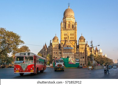 MUMBAI, INDIA - JANUARY 29, 2017 - BMC municipal building in Mumbai City, India. British architecture and historical building in Mumbai