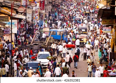 MUMBAI, INDIA - JANUARY 6, 2014: Huge Crowd in India's largest City, Mumbai