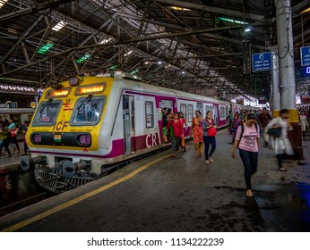 Mumbai, India - July 07, 2018 : Mumbai Suburban Railway, one of the busiest commuter rail systems in the world having most severe overcrowding in the world