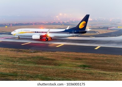 Mumbai, India - July 16, 2015: Jet Airways Boeing 737-800 preparing for departure at Mumbai.