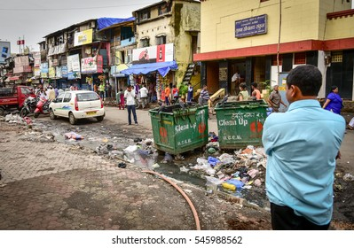 MUMBAI, INDIA - JULY 2016 - Poverty and waste in India's largest city