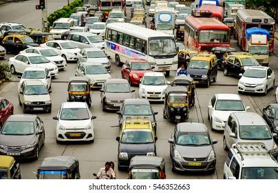 MUMBAI, INDIA - JULY 2016: Roaring traffic in India's largest city