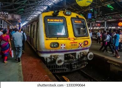 Mumbai, India - July 21, 2017: Inside the train station. Mumbai train at the end station