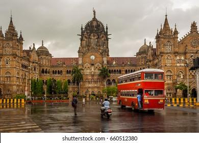 MUMBAI, INDIA - JUNE 10, 2017 : Chhatrapati Shivaji Terminus railway station (CSTM), is a historic railway station and a UNESCO World Heritage Site in Mumbai, Maharashtra, India