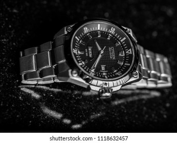 Mumbai, India - June 23, 2018 : The close up of The close up of Citizen Eco-Drive watch watch, a famous Japanese luxury wrist watch
