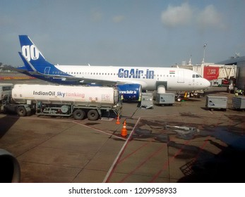 Mumbai, India - June 30, 2018 : This is photo of goair flight at Mumbai domestic airport.