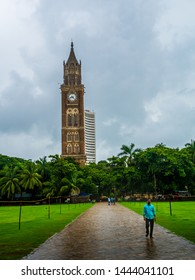 Mumbai, India - June 30, 2019 : Colonial architecture of Mumbai. Mumbai Cityscape. Council Building of the University of Bombay in India.
