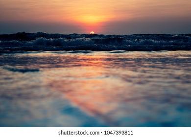 Mumbai,  India - March 11, 2018: the lonely Juhu beach