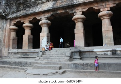 Mumbai, India - March 16, 2016: The east wing of the main cave in Elephanta Caves.