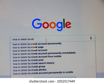 Mumbai, India- March 23, 2018: delete facebook/ #deletefacebook campain results in google search for how to delete facebook account permanently