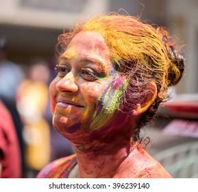 MUMBAI, INDIA - March 24, 2016: Lady closeup on Indian color festival called HOLI, Mumbai, Maharashtra, India, Southeast Asia.