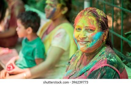 MUMBAI, INDIA - March 24, 2016: People celebrating Indian color festival called HOLI, Mumbai, Maharashtra, India, Southeast Asia.