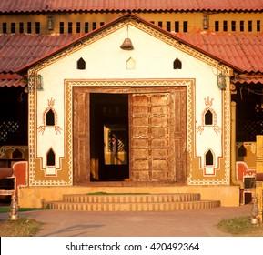 MUMBAI, INDIA - March 26, 2014: Rajasthan style home entrance, Mumbai, Maharashtra, India, Southeast Asia.