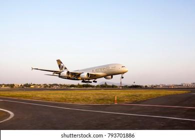 Mumbai, India - May 1, 2016: Etihad Airways A380 landing at Mumbai Airport from Abu Dhabi on inaugural flight.