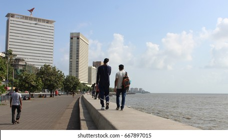 Mumbai, India - May 27, 2017: The view of Air India and Oberoi (Trident) buildings which lies parallel to the promenade of the natural bay, at Marine Drive.