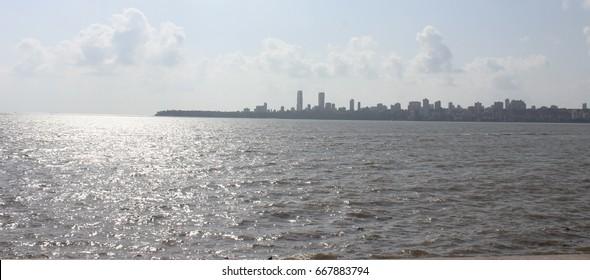 Mumbai, India - May 27,2017: A view of the Arabian Sea from Marine Drive