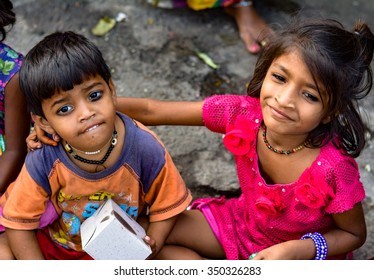 Mumbai, India - November 11, 2015: Poor kids during Spread The Happiness campaign during Diwali.