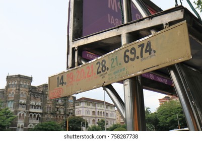 MUMBAI INDIA - NOVEMBER 11, 2017: Bus stand displays bus numbers in downtown Mumbai.