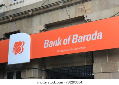 MUMBAI INDIA - NOVEMBER 11, 2017: Bank of Baroda sign. Bank of Baroda is an Indian state-owned International banking and financial services company.