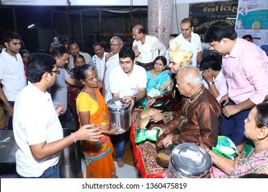 Mumbai, India - November 16, 2016 : Rich Jain Philanthropic Businessmen Donating Their Belongings To The Poor Before Being Initiated Into Jain Monastic Order