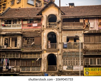 Mumbai, India November 18, 2018: Old chawl, a residential building for lower middle class, located at central south Mumbai, Bhendi bajar