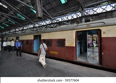 MUMBAI, INDIA - NOVEMBER 5: Train reserved only for ladies stops at Chhatrapati Shivaji Terminus (CST) on November 5, 2009 in Mumbai. CST is one of the busiest railway stations in India.