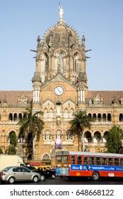 MUMBAI, INDIA - October 24, 2011: Chhatrapati Shivaji Terminus Building, UNESCO World Heritage Site, Mumbai, Maharashtra, India, Southeast Asia.