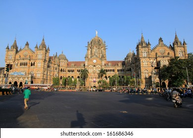 MUMBAI, INDIA - October 26, 2011: Chhatrapati Shivaji Terminus is a UNESCO World Heritage Site and historic railway station which serves as the headquarters of the Central Railways in Mumbai, India.