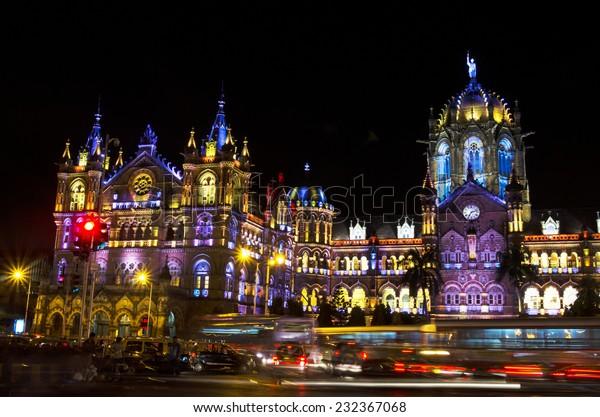 Mumbai, India - October 26, 2014 - Chhatrapati Shivaji Terminus (Victoria Terminus) illuminated with multi-colored lights in the evening during Diwali Festival