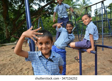 Mumbai, India - October 28, 2015 - Children from children���«s home playing on playground powered by charity project based in Europe