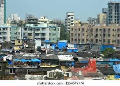 Mumbai, India - September 13, 2013: Views of slums in the center of Mumbai, India