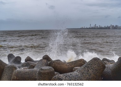 Mumbai - July 2017: Beautiful view of Marine Drive. It's one of the famous spot to visit.