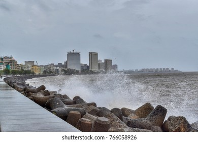 Mumbai - July 2017: Beautiful view of the buildings and waves from Marine drive.