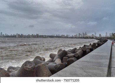 Mumbai- July 2017: View of Marine drive. It's one of the famous spot to visit in Mumbai.