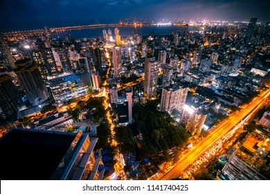 Mumbai lit up at night.