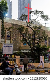 Mumbai, Maharashtra - December 26th 2018 : Street Photography Of Our Lady Of Lourdes Church Orlem Marve Road Malad West India Asia.