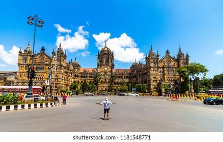 Mumbai, Maharashtra / India - 09/12/2018: Chhatrapati Shivaji Maharaj Terminus, formerly known as Victoria Terminus is a historic railway station and a UNESCO World Heritage Site.