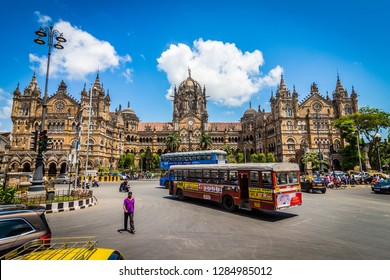 Mumbai, Maharashtra / India - 09/12/2018: Chhatrapati Shivaji Maharaj Terminus, formerly known as Victoria Terminus is a historic railway station and a UNESCO World Heritage Site in black and white.