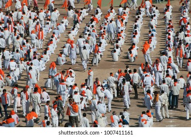 MUMBAI, MAHARASHTRA, INDIA 18 SEPTEMBER 2017 : Mob of Protesters gather together on ground for political rally.